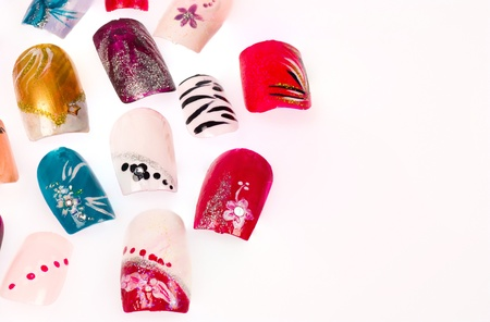 Artificial finger nails artfully decorated