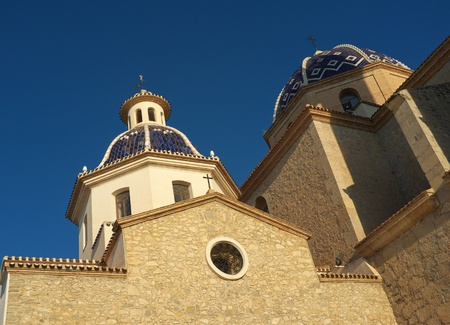 altea: Altea church and its blue tiled domes Stock Photo