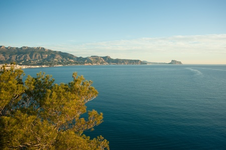 altea: High angle view of Altea bay, as seen from Sierra Helada Stock Photo