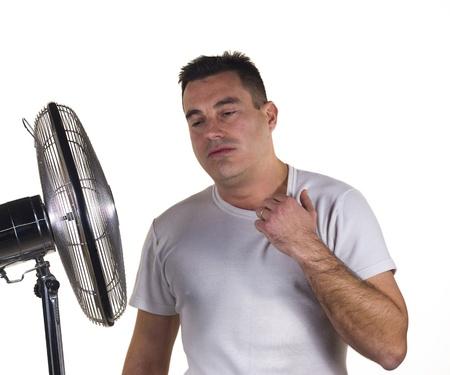 sudoracion: Hombre harto de calor extremo del verano