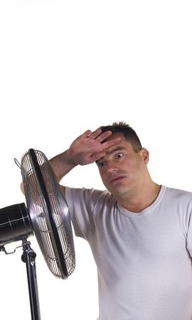 sudoroso: Un hombre sufre un d�a de verano muy caluroso Foto de archivo