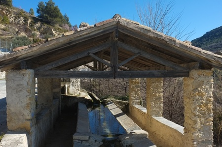 washhouse: Old washhouse, water flowing through it