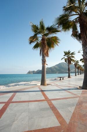 costa blanca: Sunny Albir beach promenade, Costa Blanca, Alicante, Spain