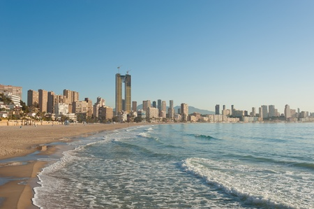 Sandy Benidorm beach, Spain number one resort Stock Photo