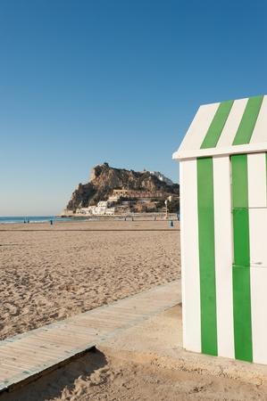 costa blanca: Sunny Benidorm beach, Costa Blanca, Spain