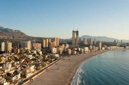 angle view: High angle view of Benidorm resort beach Stock Photo