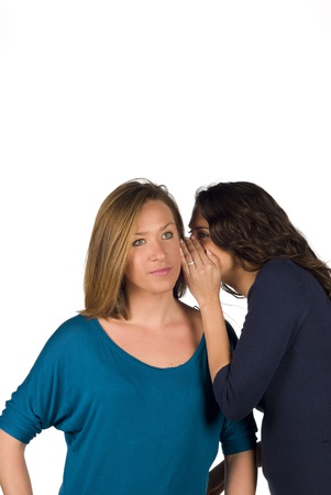 Confidential info being whispered into her ear photo