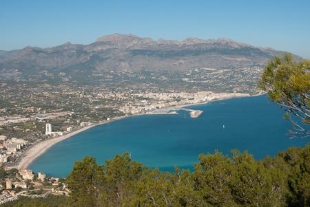 altea: High angle view over the Costa Blanca resort of Altea, Spain