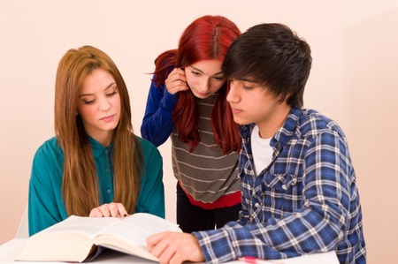 Students concentratedly sitting around a book Stock Photo - 13004357