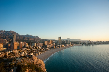 Early morning over Benidorm bay, Costa Blanca, Spain