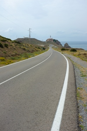 Road to Cabo de Gata cape, Almeria, Spain photo