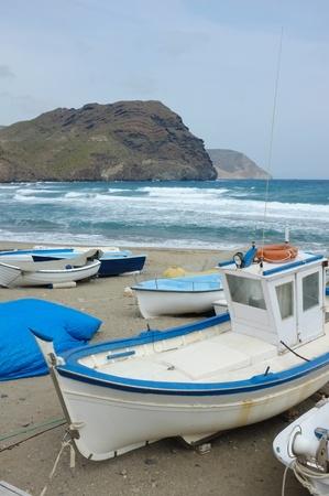 ashore: Traditional fishing boats ashore at Las Negras, Almeria, Spain