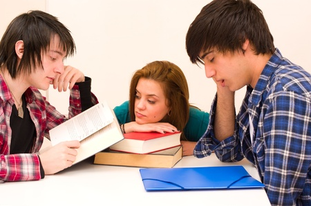 unmotivated: Bored students lacking the energy to face their studies Stock Photo