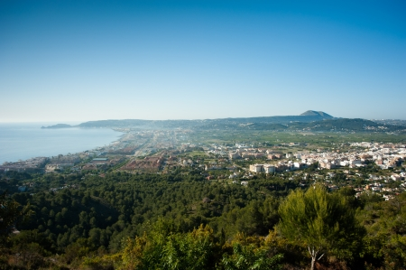 costa blanca: View over the resort town onf Javea, Costa Blanca Stock Photo