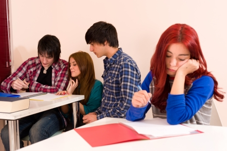 excluded: Girl is not accepted by her classmates, a bullying concept
