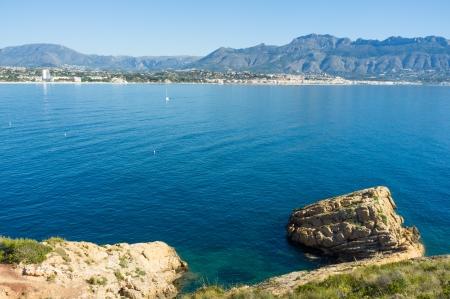 altea: The calm waters of Altea bay, Costa blanca Stock Photo