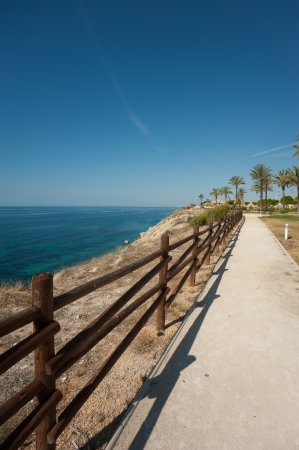 costa blanca: Scenic walkway high up along the sunny Costa Blanca Stock Photo