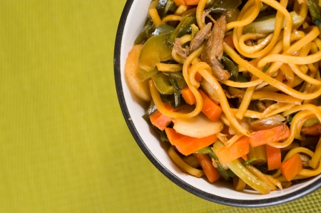 Bowl of chinese noodles with vegetables and shredded duck