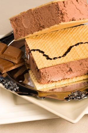 Cold dessert: chocolate ice cream sandwich closeup take photo