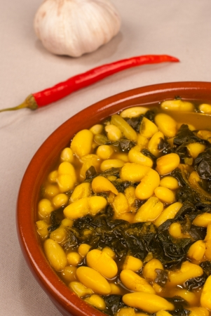 Portion of white bean stew seasoned with saffron  Stock Photo - 14900463