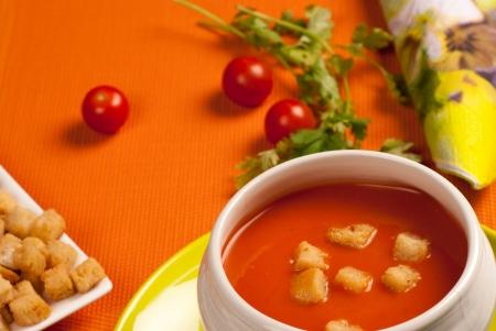 gazpacho: A portion of gazpacho,  traditional Spanish summer appetizer