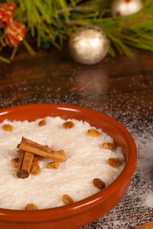 rican: Puerto Rican arroz con dulce, a traditional Christmas treat Stock Photo