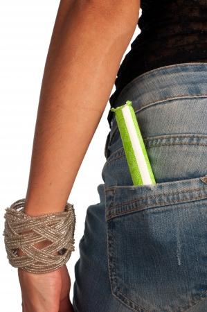 tight jeans: Concept de la menstruation, tamponner sur un jean poche �tanche Banque d'images