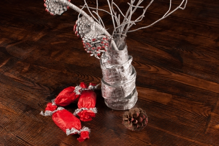 pine three: Christmas decoration elements based on pine three branches Stock Photo