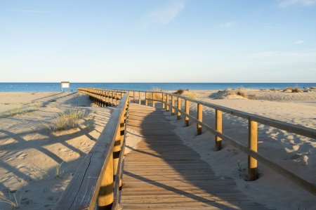 stilted: A stilted walkway through the duens of a natural park beach Stock Photo
