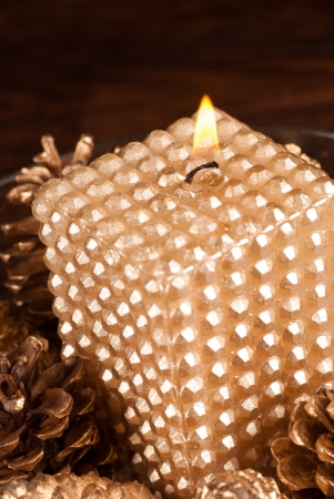 An elegant Christmas candle  painted golden Stock Photo - 16237718
