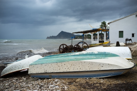 Stormy weather and overcast sky on a Mediterranean beach Stock Photo - 16325089