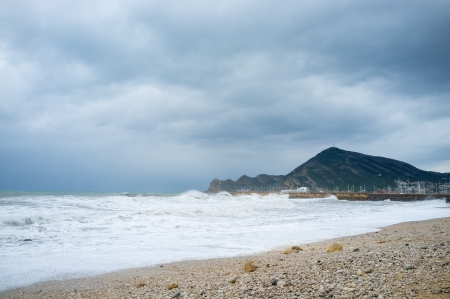 Summer season is over, a resort beach swept by heavy storm Stock Photo - 16428668