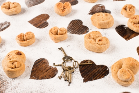 Heart shaped biscuits, a sweet Valentines treat photo