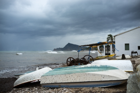 Stormy weather and overcast sky on a Mediterranean beach Stock Photo - 17181163