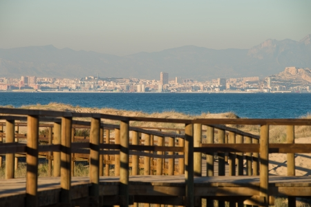 Alicante city skyline as seen from on of its many beaches Stock Photo - 17299681