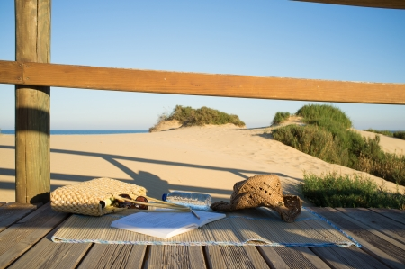 beach mat: A beach mat wit all sorts of items for a perfect day on the beach