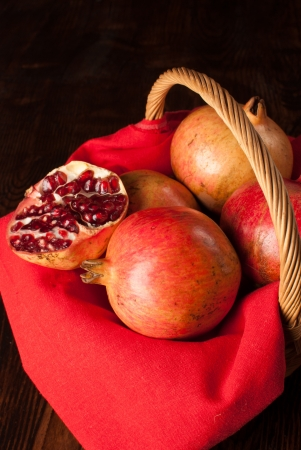 pommegranates: Pommegranates in a basket form a high angle viewpoint