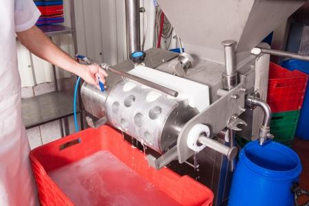 feldolgozás: Worker egy sajt üzem az utolsó lépés a friss mozzarella termelés Stock fotó