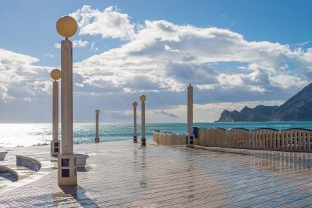 altea: Altea beach promenade with its landmark street lights Stock Photo