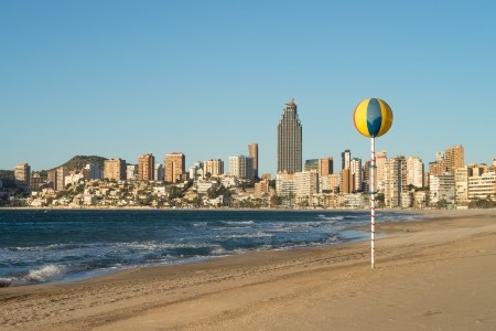 costa blanca: Benidorm beach resort on sunny Costa Blanca, Spain Stock Photo