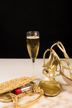 Champagne and sexy female accessories, party still life Stock Photo - 17741518