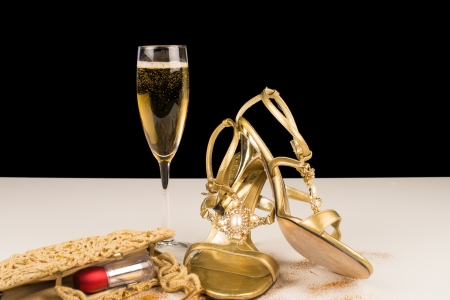 Champagne and sexy female accessories, party still life Stock Photo - 17741511
