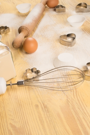 baking ingredients: Baking at home, a  still life with baking ingredients and utensils Stock Photo
