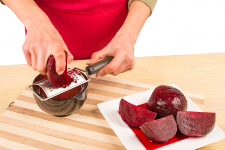 grating: Grating freshly boiled beetroot