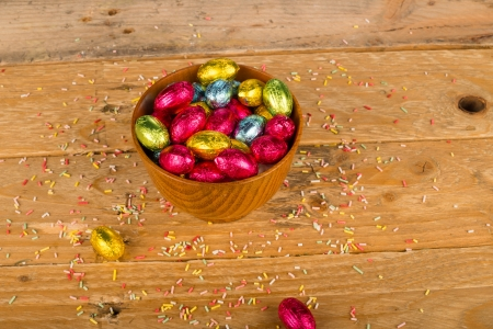 Bowl filled with assorted chocolate easter eggs photo