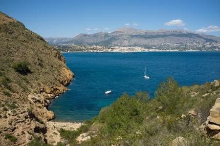 costa blanca: Recreational vessels moring under Altea bay sunshine, Costa Blanca, Spain