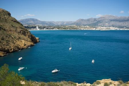 altea: Recreational vessels moring under Altea bay sunshine, Costa Blanca, Spain