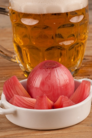 Red pickled onion, a popular Spanish tapa photo