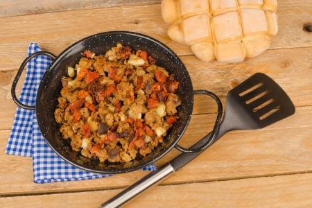 breadcrumbs: Portion of traditional Spanish breadcrumbs called migas