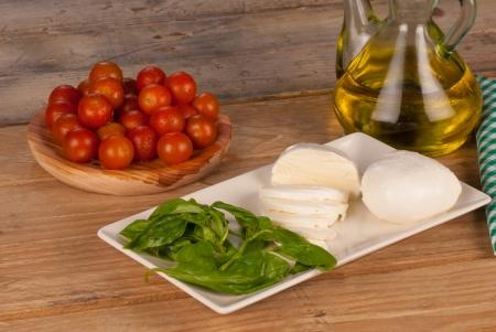 Still life with mozzarella as the main ingredient photo